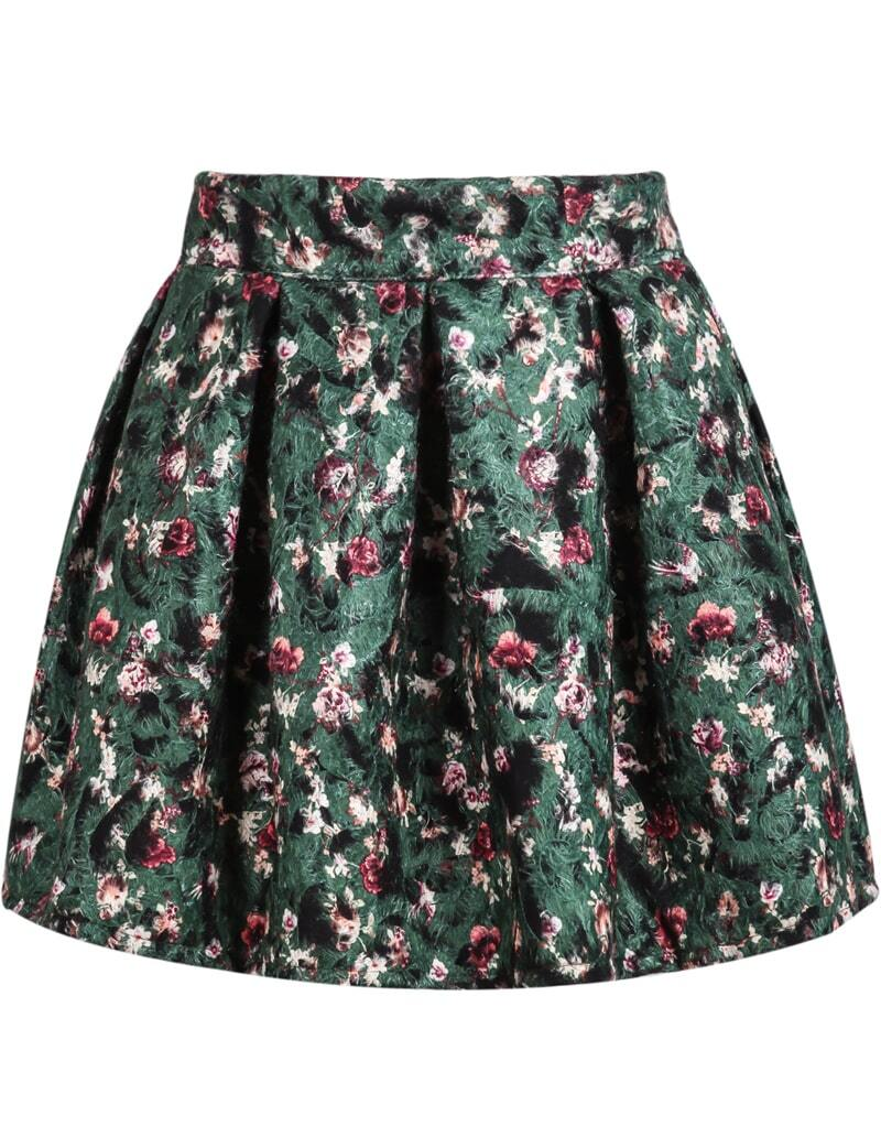 green floral pleated flare skirt shein sheinside