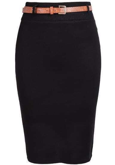 Black Skinny Knit Bodycon Skirt