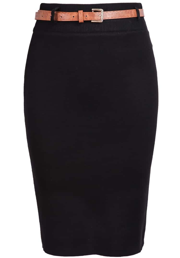 Black Skinny Knit Bodycon Skirt -SheIn(Sheinside)