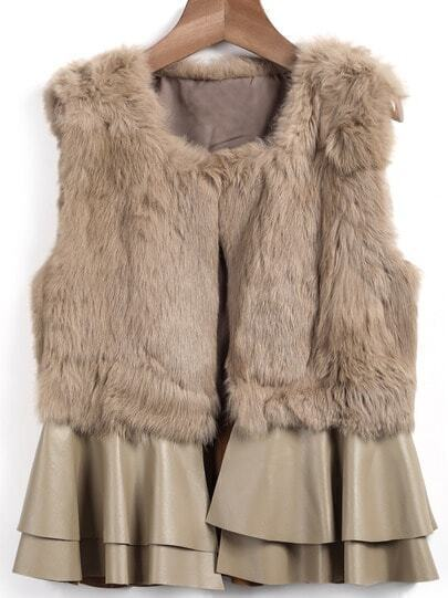 Khaki Sleeveless Rabbit Fur Coat