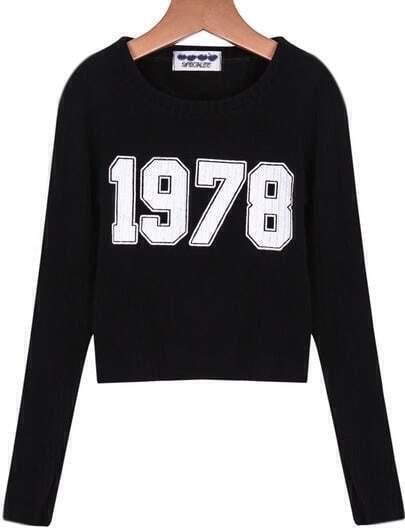 Black Long Sleeve 1978 Print Crop Knit Sweater