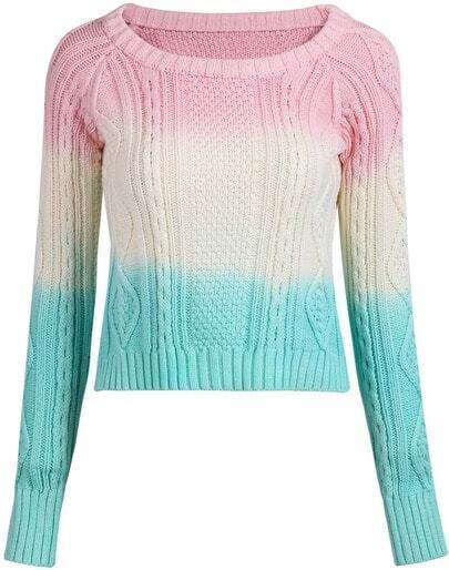Multicolor Round Neck Long Sleeve Knit Sweater