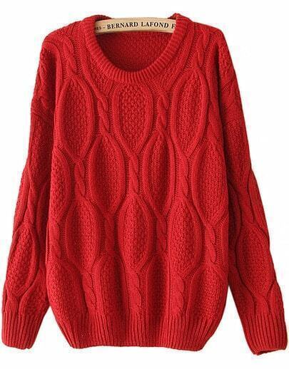 Red Long Sleeve Mohair Cable Knit Sweater