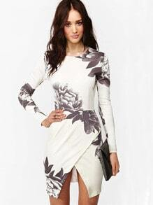 White Long Sleeve Random Floral Print Wrap Dress
