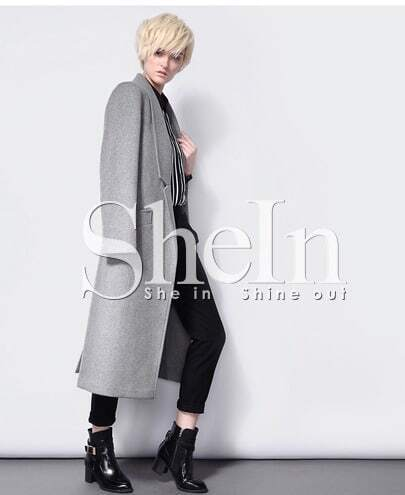 Grey Long Sleeve Notch Lapel Pockets Coat -SheIn(Sheinside)