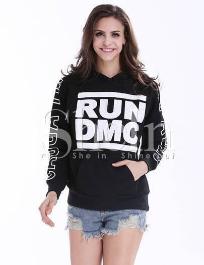 Black Long Sleeve Hooded Letters Print Sweatshirt