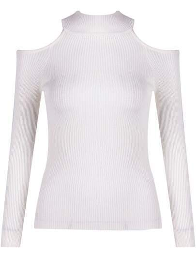 White Off the Shoulder Slim Knit Sweater