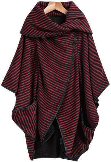 Red Black Short Sleeve Striped Loose Coat