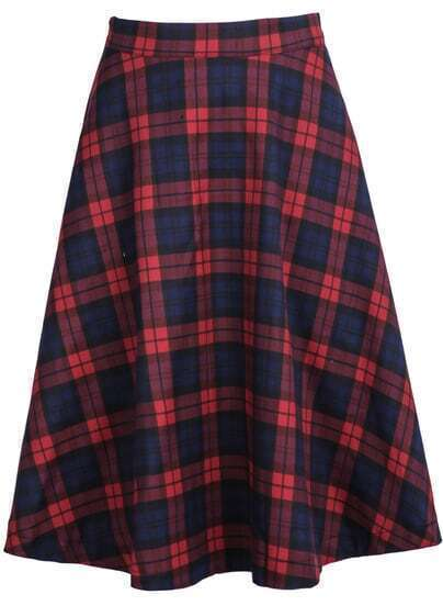 Red Blue Plaid Midi Skirt