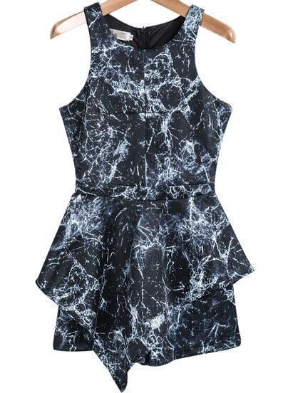 Black Sleeveless Ink Floral Slim Jumpsuit