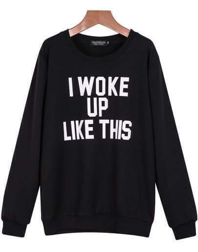 Black Long Sleeve Letters Print Sweatshirt