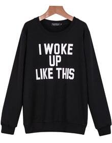 Black Long Sleeve Letters Print Sweatshirt