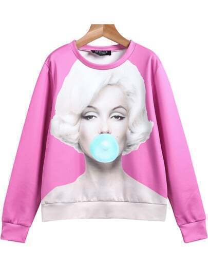 Pink Long Sleeve Monroe Print Loose Sweatshirt