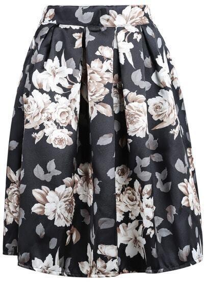 Black Floral Midi Skirt