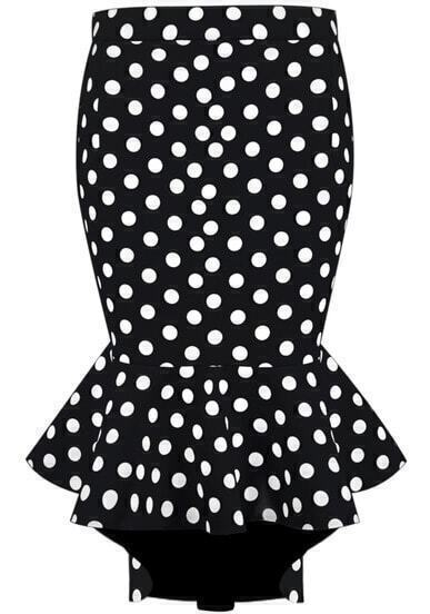 Black Polka Dot Ruffle Asymmetrical Skirt