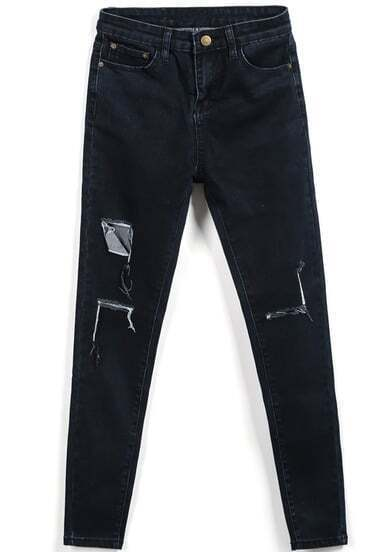 Black Ripped Pockets Denim Pant