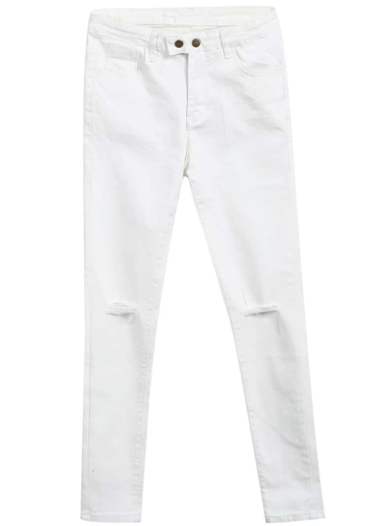 pantalon mince en jean d chir blanc french shein sheinside. Black Bedroom Furniture Sets. Home Design Ideas