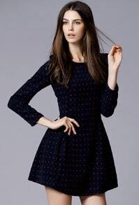 Navy Long Sleeve Slim A Line Dress