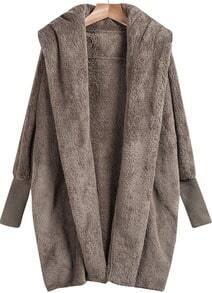 Khaki Lapel Long Sleeve Loose Coat