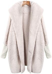 Apricot Lapel Long Sleeve Loose Coat