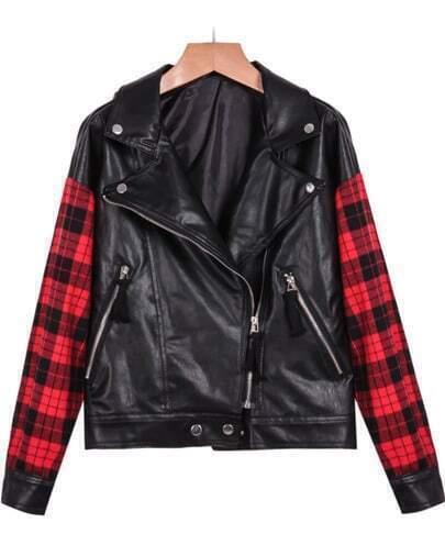 Black Contrast Plaid Long Sleeve PU Jacket