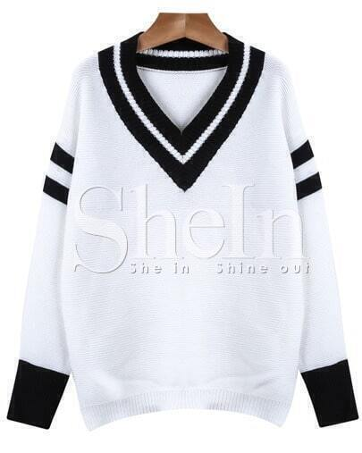 Jersey cuello pico manga larga-blanco y negro