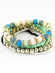 Green Bead Multilayers Bracelet