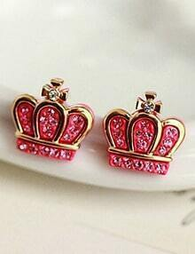 Red Diamond Gold Crown Earrings