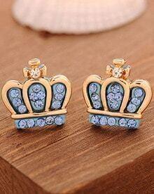 Blue Diamond Gold Crown Earrings