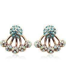 Green Diamond Gold Ball Earrings