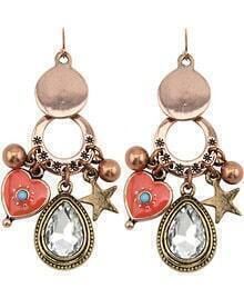 Retro Gold Diamond Heart Star Earrings