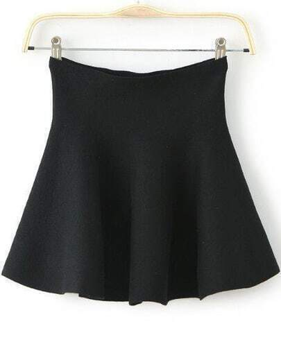 Black High Waist Ruffle Flare Skirt