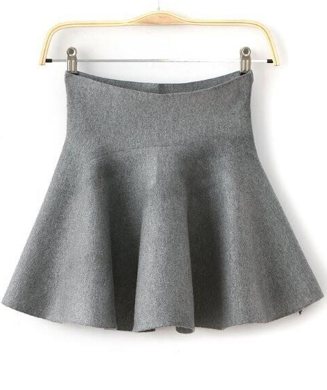 Grey High Waist Ruffle Flare Skirt -SheIn(Sheinside)