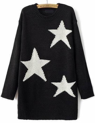 Black Long Sleeve Stars Print Knit Sweater