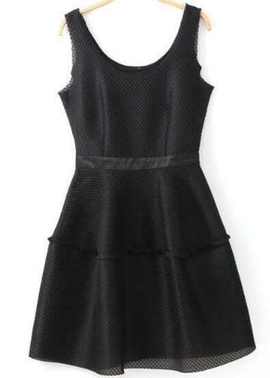 Black Sleeveless Grid Flare Dress
