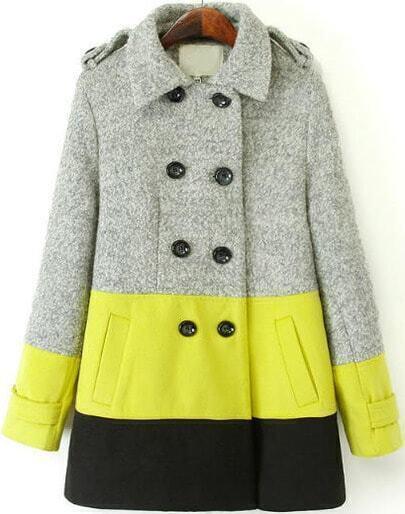 Grey Yellow Long Sleeve Shoulder Pads Woolen Coat