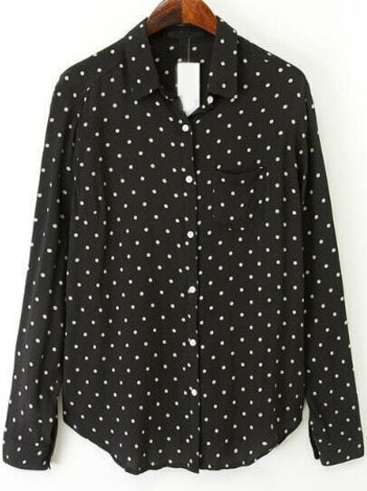 Black Lapel Long Sleeve Polka Dot Blouse