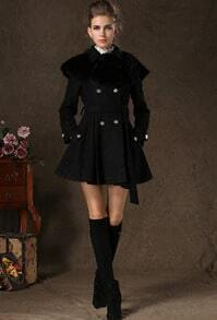 Black Lapel Long Sleeve Buttons Woolen Coat