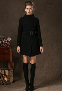 Black Stand Collar Long Sleeve Slim Woolen Coat