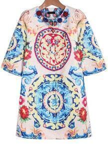 Pink Half Sleeve Floral Jacquard Coat