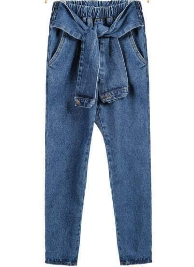 Blue Elastic Waist Denim Pant