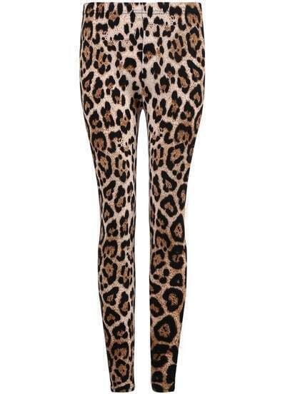 Yellow Slim Leopard Leggings