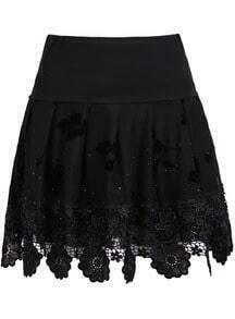 Black Bead Hollow Lace Skirt
