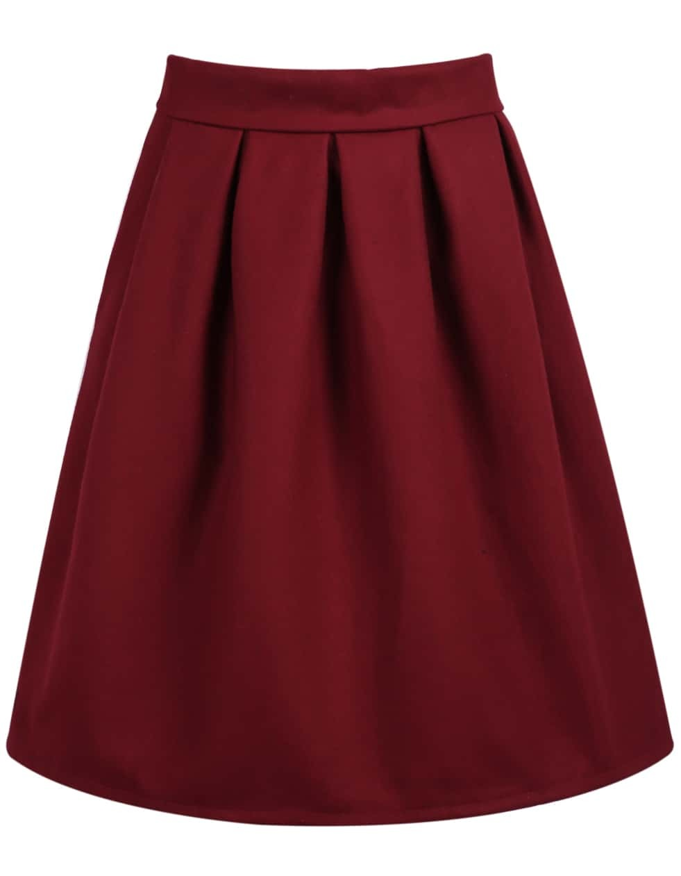 Red High Waist Pleated Skirt -SheIn(Sheinside)