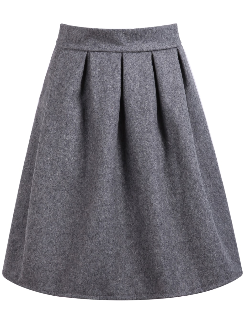 grey high waist pleated skirt shein sheinside