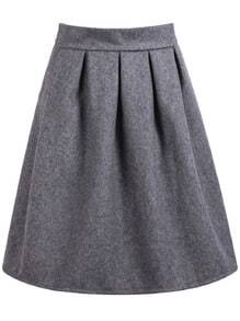 Grey High Waist Pleated Skirt