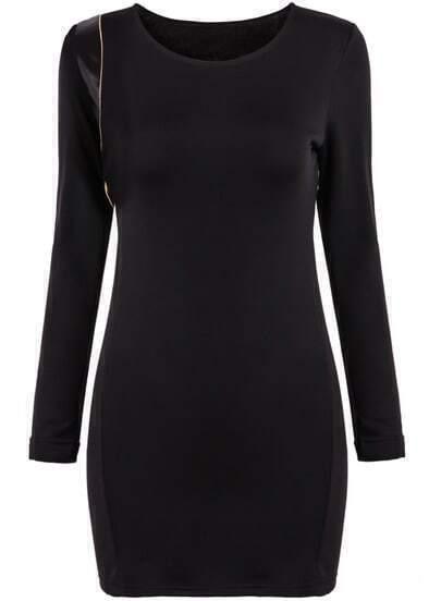 Black Long Sleeve Slim Knit Bodycon Dress