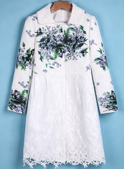 White Long Sleeve Lace Floral Coat