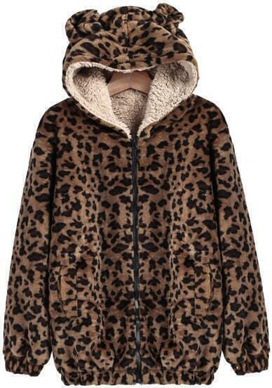 Khaki Hooded Long Sleeve Leopard Loose Coat