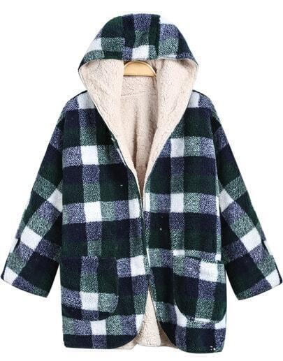 Green White Hooded Plaid Woolen Coat